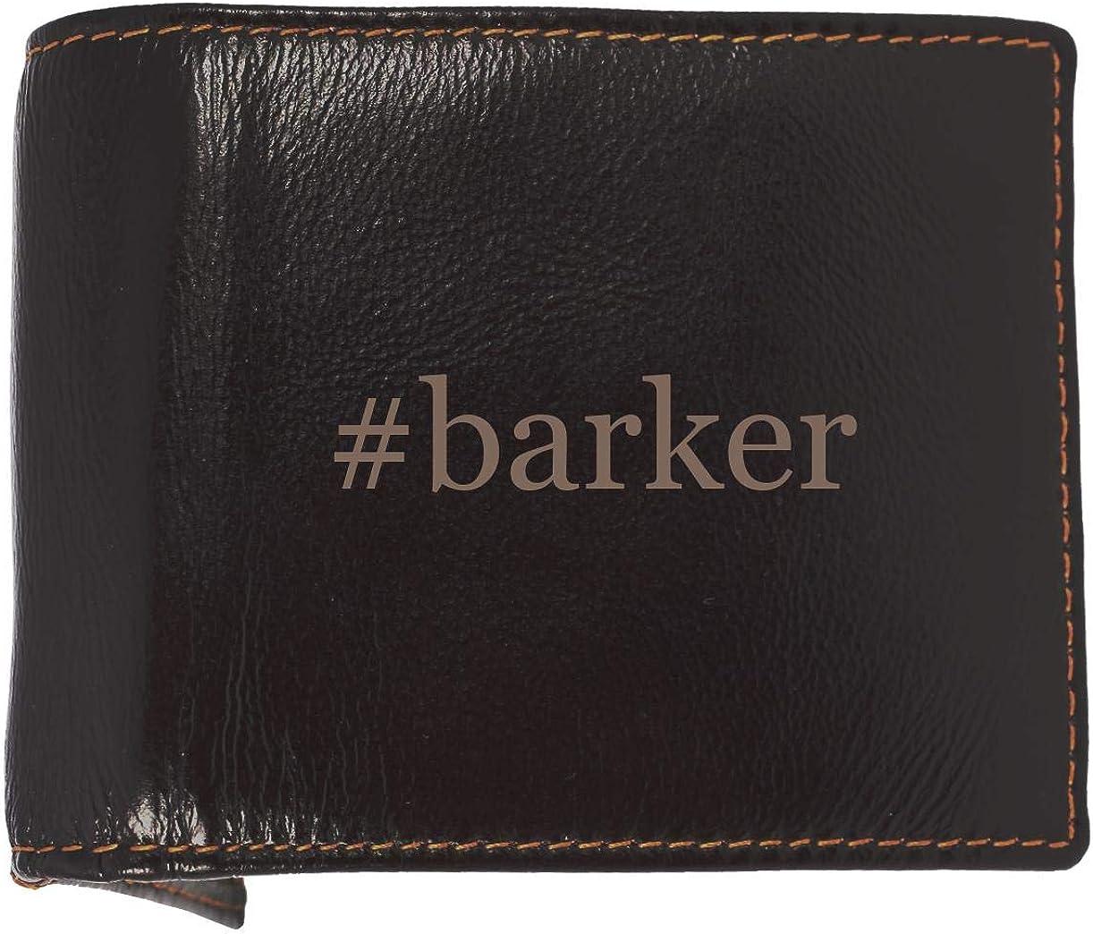 #barker - Soft Hashtag Cowhide Genuine Engraved Bifold Leather Wallet