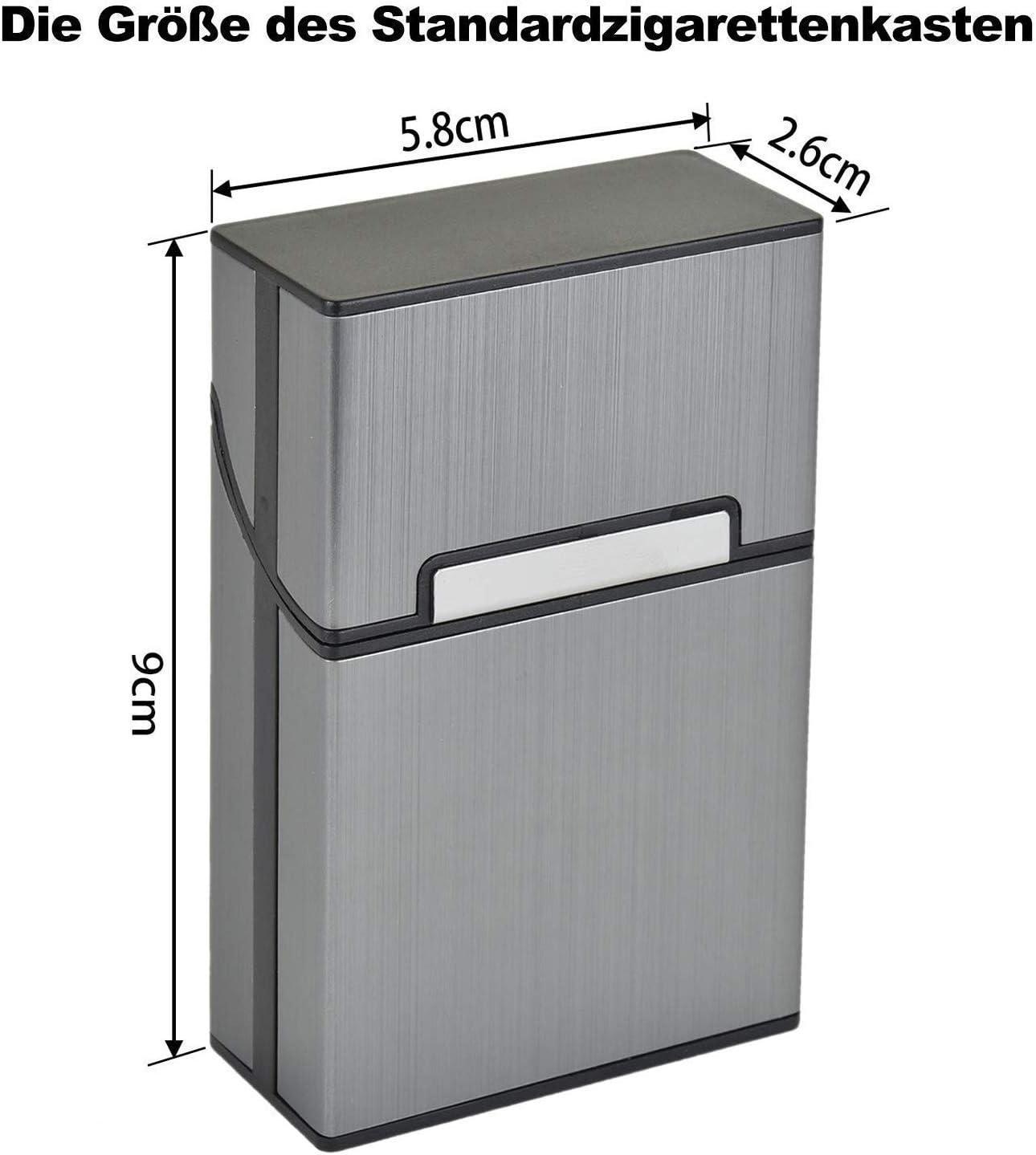 3er//Set, Grau Aluminium Zigarettenetuis von eLander Elegante Entwurf Aluminium Zigaretten Kasten Magnetisierte Deckel
