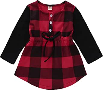 HAPPYMA Kids Little Girls Baby Long Sleeve Button Down Red Plaid Flannel Top Shirt Waist Tie Dress 1-5T