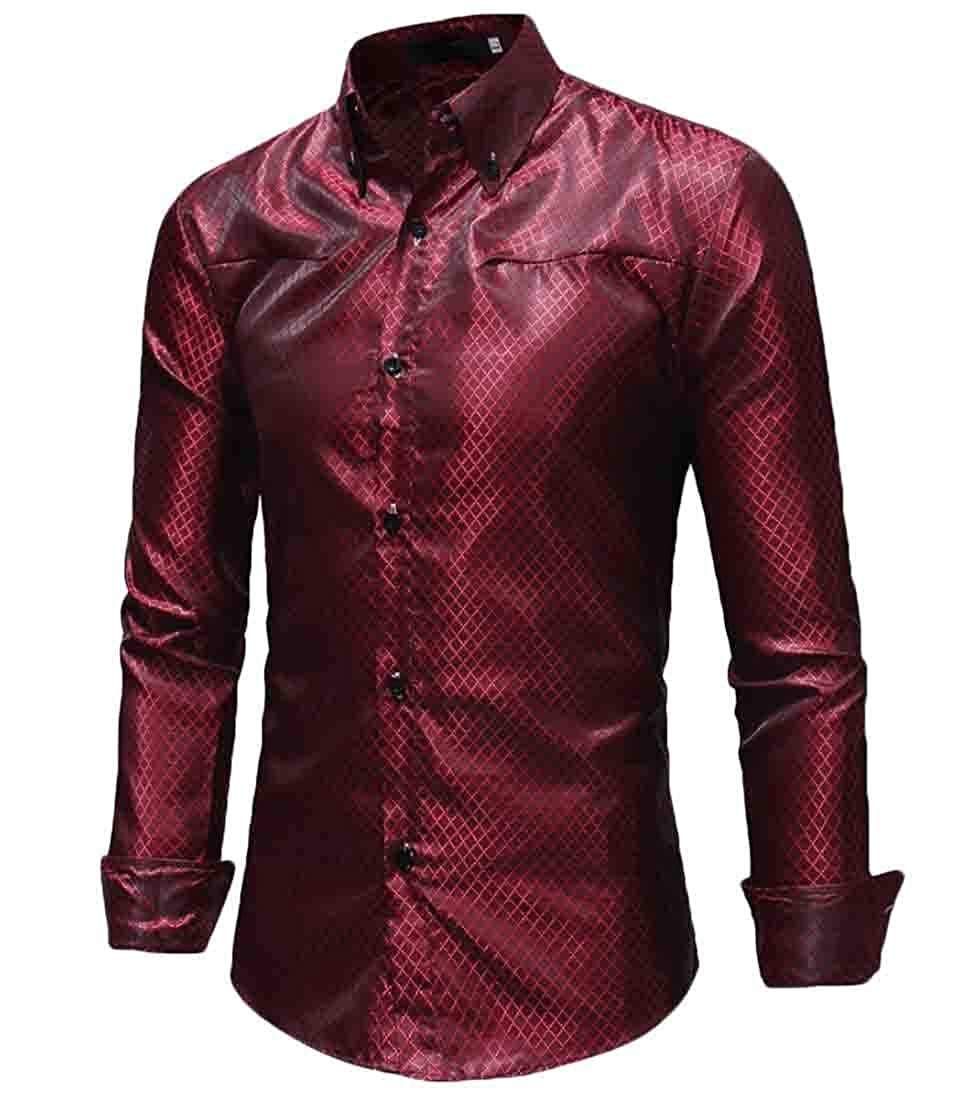 WSPLYSPJY Mens Loose Long Sleeve Dress Shirt Button Down Casual Slim Fit Shirt