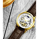 Stührling Original Mens Gold Tone Stainless Steel Automatic Watch, White Skeleton Dial, Yellow Gold Accents, Dual Time, AM/PM Sun Moon, Brown Leather Band, 571 Series