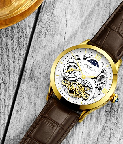 Stührling Original Mens Gold Tone Stainless Steel Automatic Watch, White Skeleton Dial, Yellow Gold Accents, Dual Time, AM/PM Sun Moon, Brown Leather Band, 571 Series ()