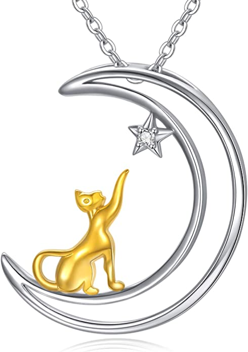 Davitu Necklaces CLUCI Silver 925 Cute Love Cat Family Pendant Necklace for Mom Women 925 Sterling Silver Pendant Necklace Mother Day Gift