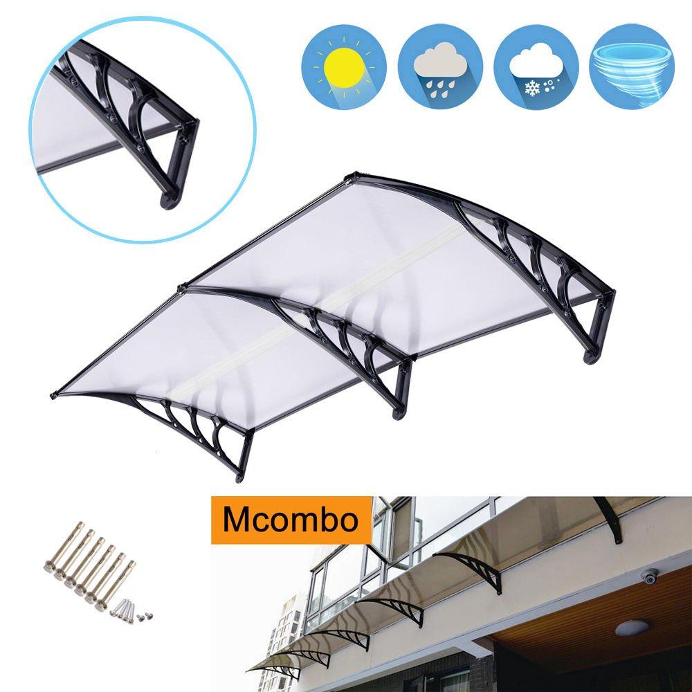Exacme Mcombo 40''×80'' Window Awning Outdoor Polycarbonate Front Door Patio Cover Garden Canopy 6055-4080, Black