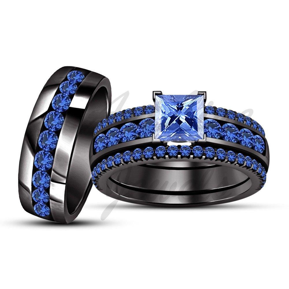 ArtLine Jewels Princess Cut Blue Sapphire Engagement Ring Wedding Band 14k Black Gold Plated Trio Set