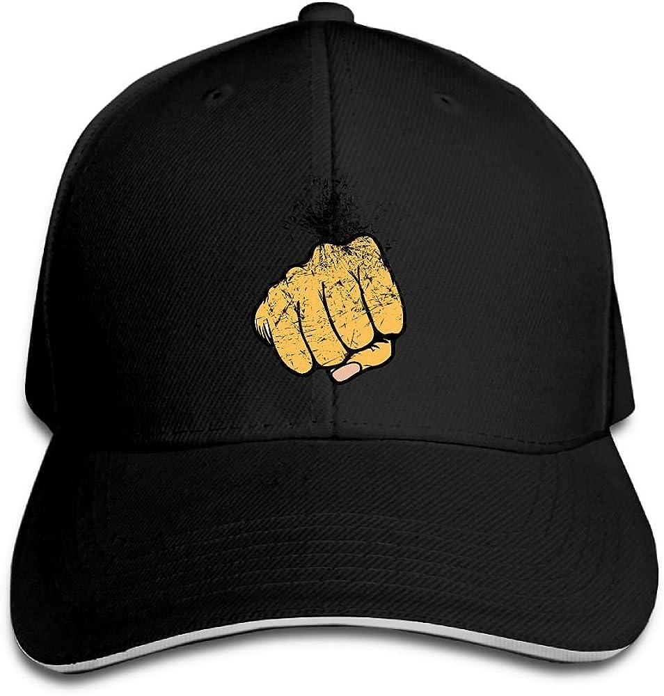Unisex Sandwich Peaked Cap Fist Gesture Art Pattern Adjustable Cotton Baseball Caps