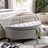 Jolie Grey Velvet Storage Ottoman - Half Moon | Upholstered Button Tufted | Nailhead | Bedroom | Inspired Home