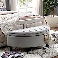 Jolie Grey Velvet Storage Ottoman - Half Moon | Upholstered Button Tufted | Nailhead | Bedroom | Inspired Home