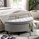 Inspired Home Jolie Light Grey Velvet Ottoman – Half Moon | Upholstered | Button Tufted | Nailhead | Bedroom Review