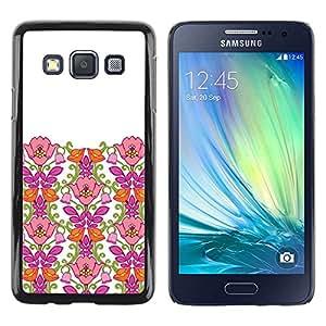 FECELL CITY // Duro Aluminio Pegatina PC Caso decorativo Funda Carcasa de Protección para Samsung Galaxy A3 SM-A300 // Pink Clean White Minimalist Girl