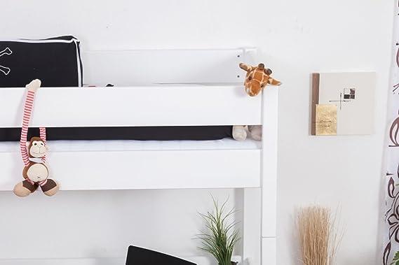 Hochbett Patrick Buche Vollholz Massiv Weiß Lackiert Mit  Schreibtischplatte, Inkl. Rollrost   90 X 200 Cm: Amazon.de: Küche U0026  Haushalt
