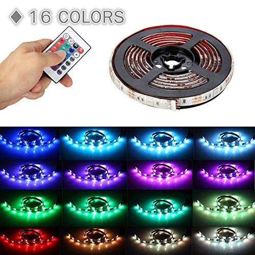 LED Strip Lights Battery Powered, SOLMORE 6.6ft 60LED RGB Strip Lights Rope Lights Waterproof Flexible Color Changing RGB LED Light Strip with Remote Control for DIY Party Living Room by SOLMORE (Image #1)