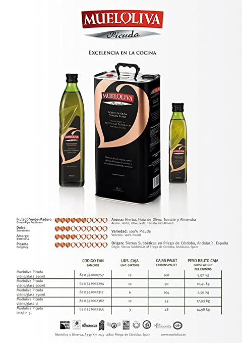 Amazon.com : MUELOLIVA PICUDA VARIETY EVOO 750ml - pack of 2 : Grocery & Gourmet Food