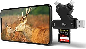 Trail Camera Viewer 4 in 1Memory SD Card Reader, E-thinker Game Camera Card Viewer-Trail Hunter View Hunting Photos Videos or Trail Camera Reader on Smartphone for iPad Mac&Android, Black