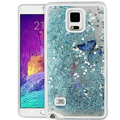 Galaxy NOTE 4 Case, EMAXELER 3D Creative Design Flowing Liquid Floating Bling Shiny Butterfly Quicksand Liquid Polycarbonate Hard Case for Samsung Galaxy NOTE 4 + Stylus Pen(Butterfly: Sky Blue)