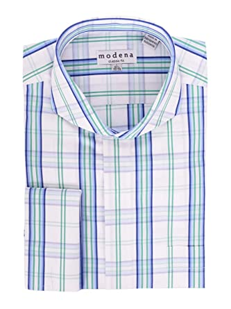 Modena White Green   Blue Plaid Cutaway Collar French Cuff Cotton Dress  Shirt 00644bda2