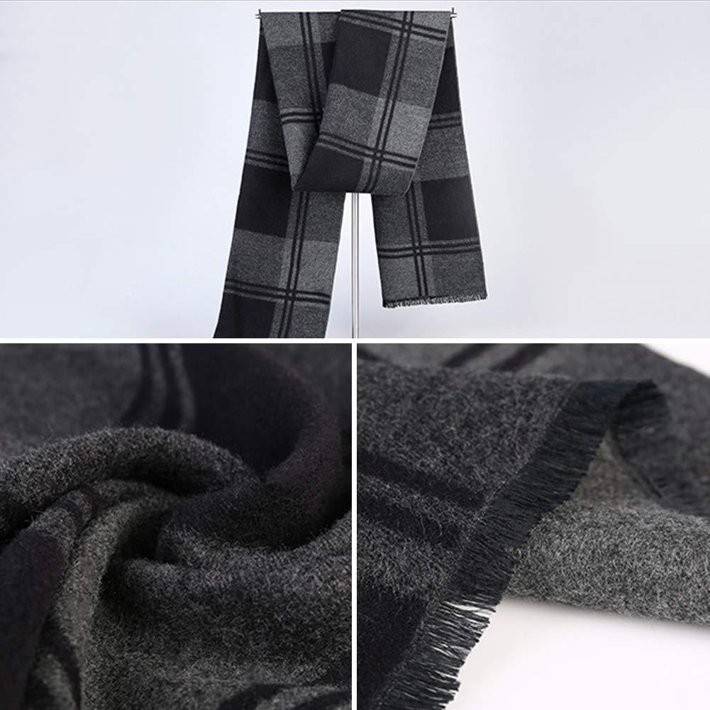 Elezay Super Soft Scarf Winter Faux Cashmere Blend Scarf Mens business scarf BlackB