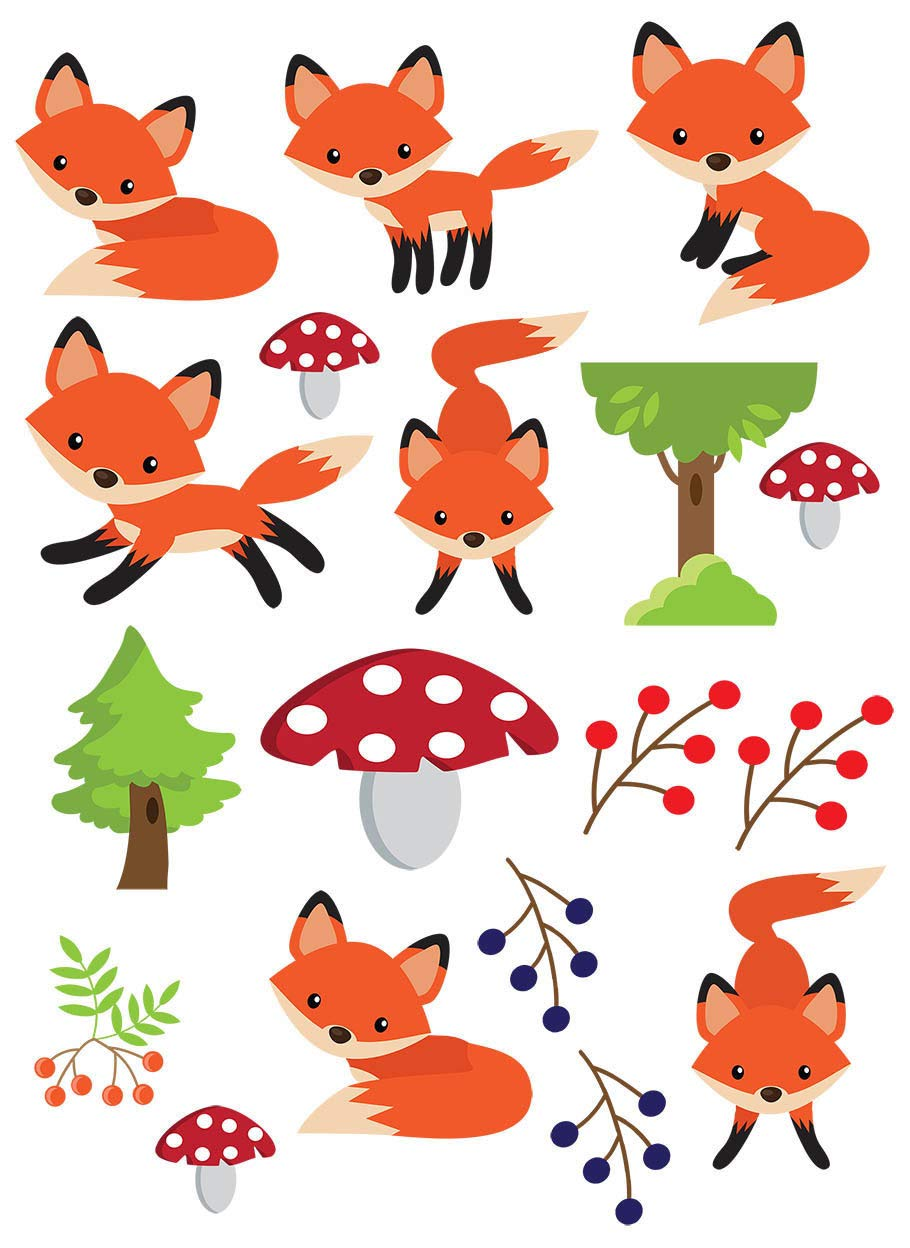 Baby Foxes in the Forest - 69445 - Ceramic Decal - Enamel Decal - Glass Decal - Waterslide Decal - 3 Different Size Sheet (images) to Choose from. Choose either Ceramic (Enamel) or Glass Fusing Decals XpressionDecals
