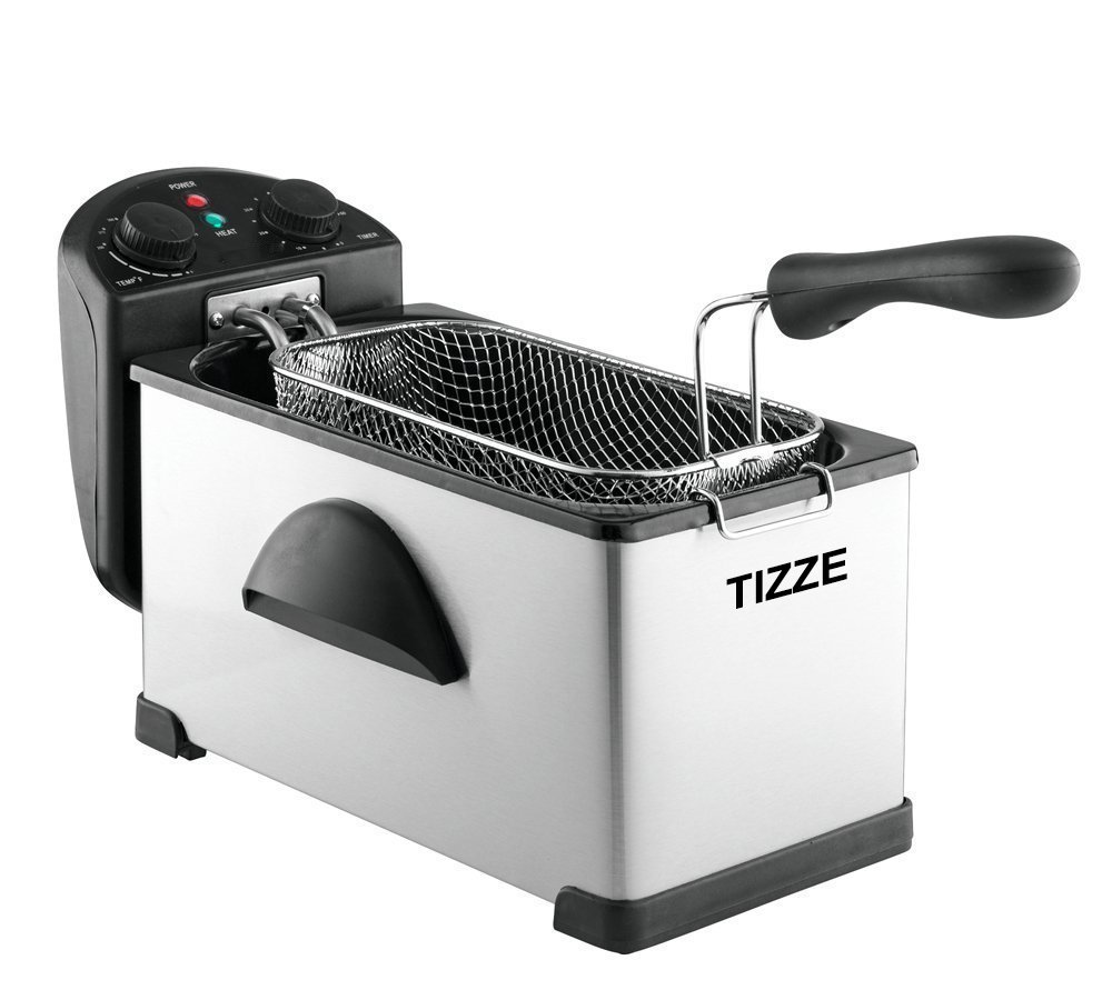 TIZZE Electric Deep Fryer Dual Temperature and Timer - Anti-Odor - 1500W - Stainless Steel