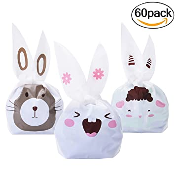 Amazon candy bags fascigirl 60pcs lovely bunny ears gift candy bags fascigirl 60pcs lovely bunny ears gift wrap bags treat bags for birthday party negle Image collections