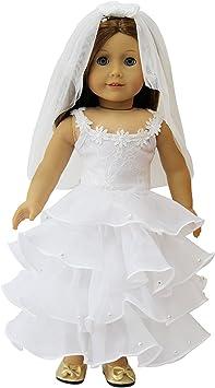 ZITA ELEMENT 1 Set Quality Handmade 18 Inch Doll Bride Wedding Dress with Headba