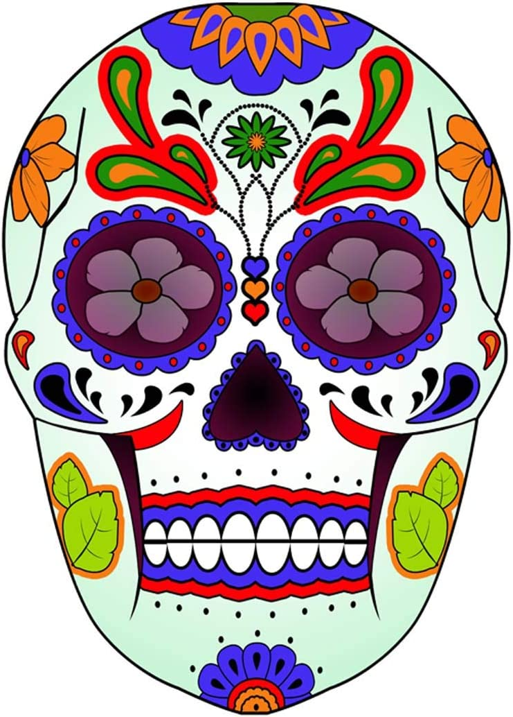Amazon Com Vwaq Dia De Los Muertos Skull Wall Decals Murals Day Of The Dead Wall Art Decor Candy Skull Stickers Calavera Fiesta Sugar Skull Colors Peel And Stick Removable Decal Gjg 3 Home