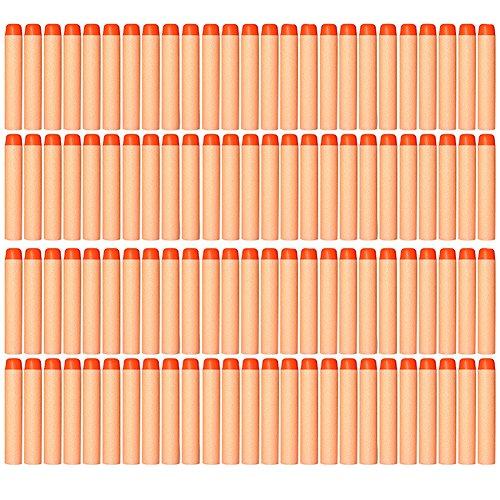 AMOSTING 100 PCS Foam Darts Universal Standard Refill Soft 2.84in (7.2cm) Round Head Bullet Pack for Most Nerf N-strike Elite etc Series Blasters Toy Hand Gun - Orange