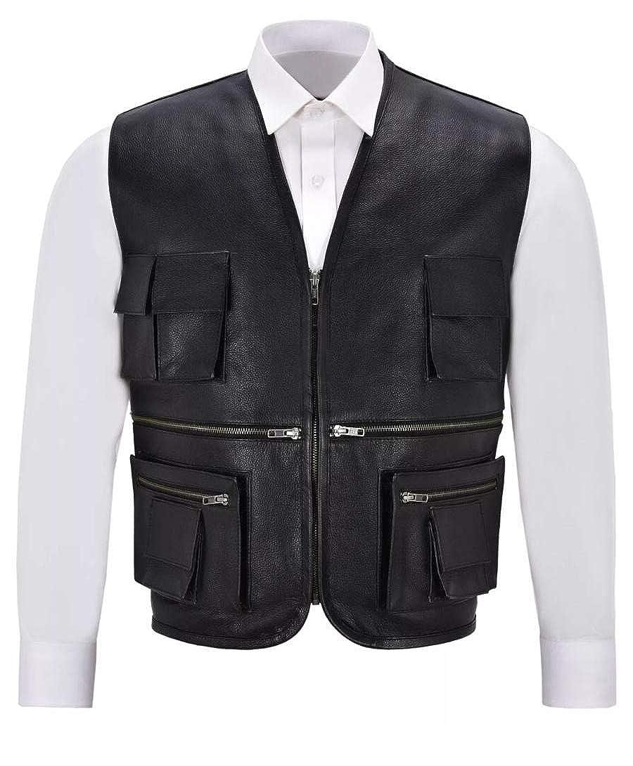 - BT-Fashion Men's Real Hunter Gunner Vest-Coat Fighter Real Leather Jacket