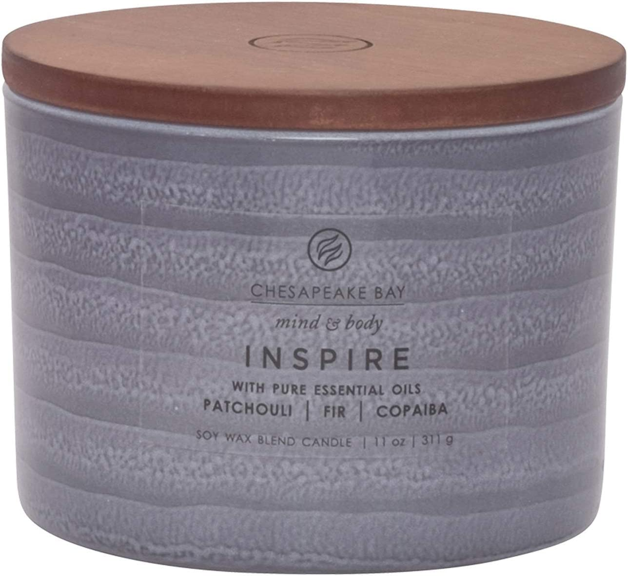 Chesapeake Bay Candle Mind & Body Serenity Scented Candle, Inspire with Pure Essential Oils (Patchouli, Fir and Copaiba), Coffee Table