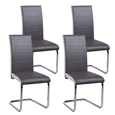 Juego de 4 sillas de comedor de cocina, color gris y blanco, patas de