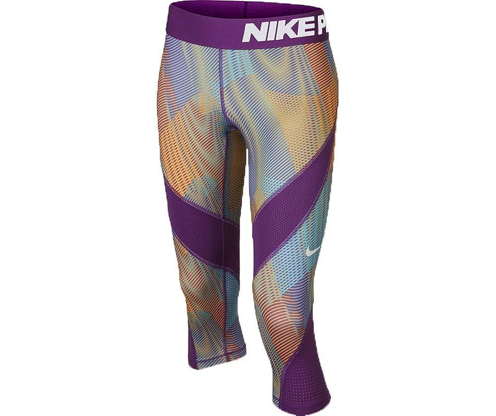 e747e519a Nike Girl's Pro Hypercool Printed Training Capris (XL (16 Big Kids) x One  Size, Cosmic Purple/White/Orange/Blue)