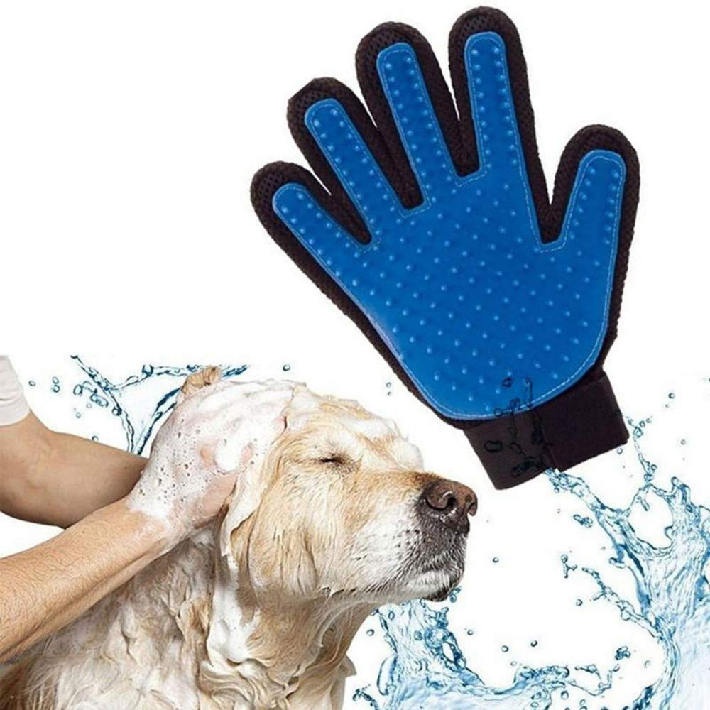 ZLBPET Pet Grooming Gloves Deshedding Brush Cat and Dog Hair Removal Gloves Strong Hair Removal Bathing Massage Glove Brush Five-Finger Design Silica Gel,Blue,righthand