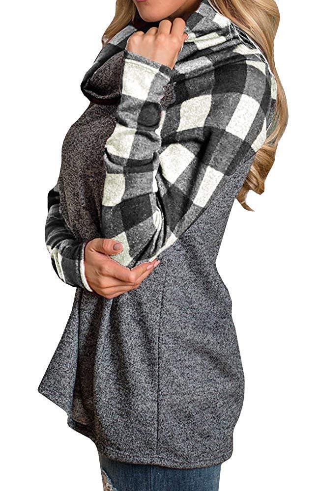 Women\'s Cowl Neck Plaid Sweatshirts Long Sleeve Casual Raglan Shirt Pullover White