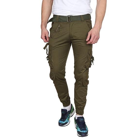 Glamio Men s Boy s Cotton Solid Olive Green DORI Cargo Jogger Pants  (AADORIOLIVEBB) 5790fde2d
