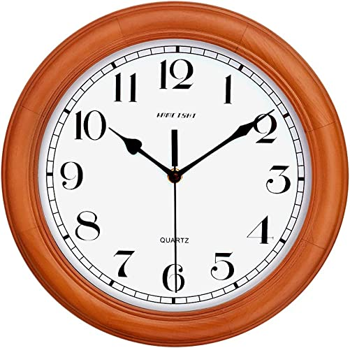 KAMEISHI 12-inch Wood Wall Clock Battery Operated Non-Ticking Quiet Sweep Second Silent Round Simple For Living Room Kitchen Bedroom Large Numbers Quartz Wall Clock Decorative KSW235U Brown