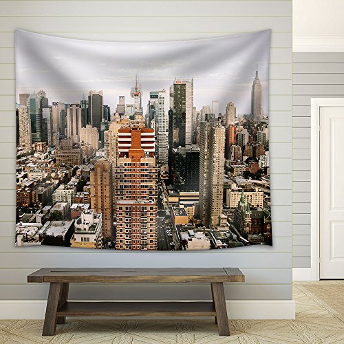 Skyline View of City Buildings Fabric Wall