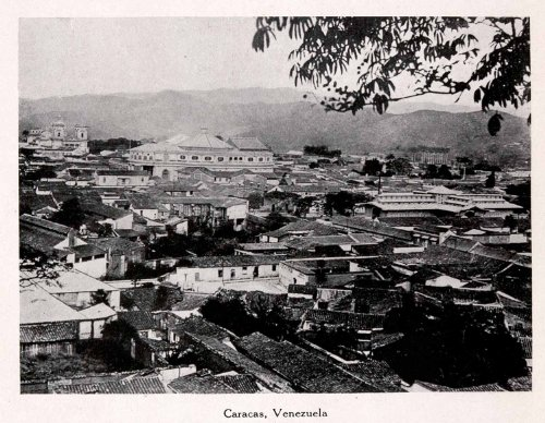 1911-print2-caracus-venezuela-south-american-cityscape-mountains-trees-buidlings-original-halftone-p