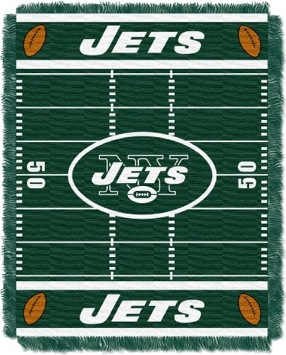 "The Northwest Company Officially Licensed NFL New York Jets Field Bear Woven Jacquard Baby Throw Blanket, 36"" x 46"""