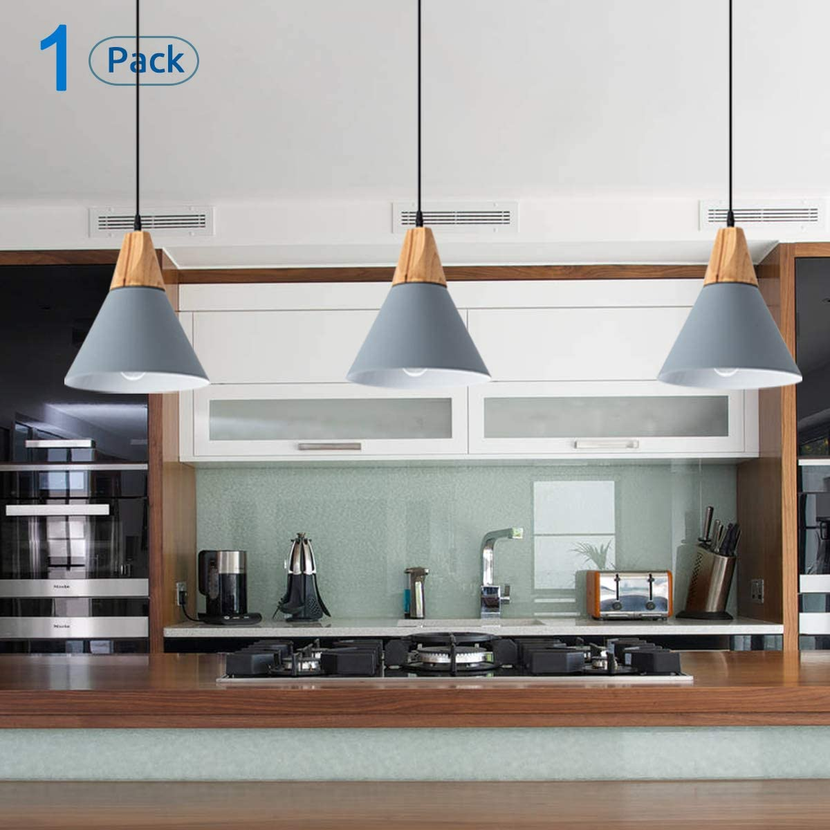 Contemporary Pendant Light Industrial Hanging Metal Small Light Fixtures Wood Pendant Lamp for Kitchen Island, Dining Room, Barn, Bar, Hallway Gray 1 Pack