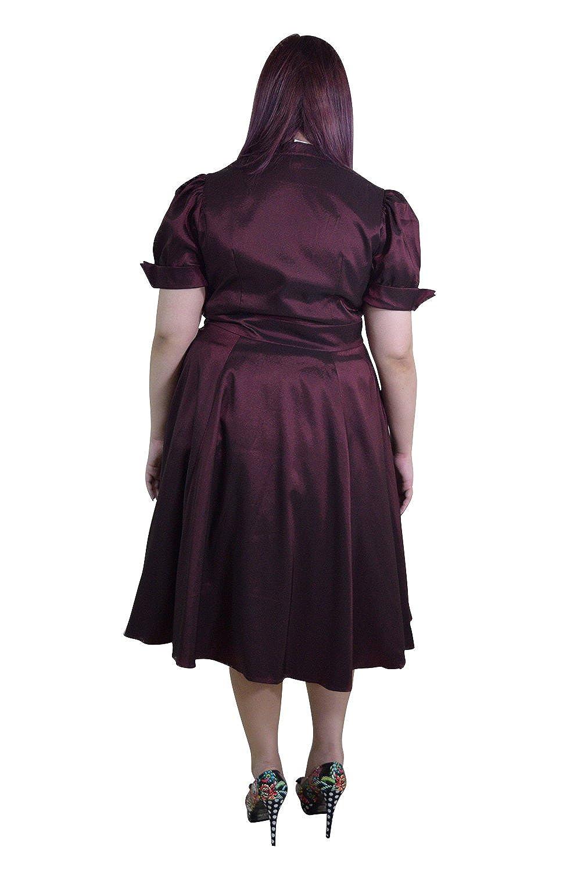 9a54e59217d Amazon.com  Skelapparel Plus Vintage 60 s Queen of Hearts Two Tone Burgundy    Black Satin Dress  Clothing