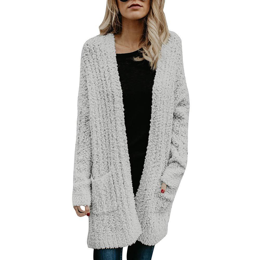 kingf Womens Cable Knit Open Front Cardigan Sweaters Coat Long Fleece Jackets Outwear kingfansion Women