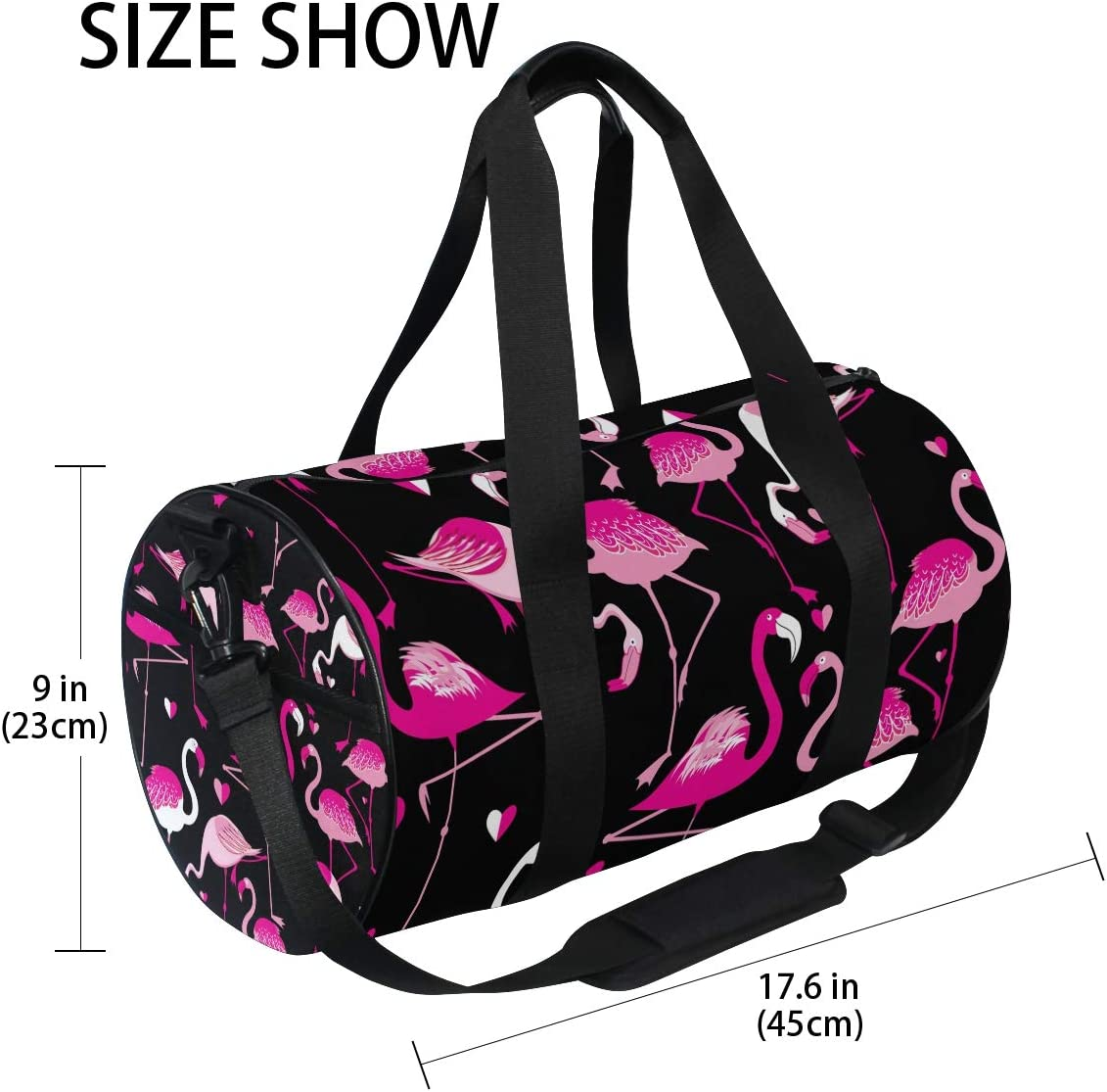 TFONE Pink Flamingo Theme Duffel Bag Sports Gym Weekend Bags with Shoe Compartmen