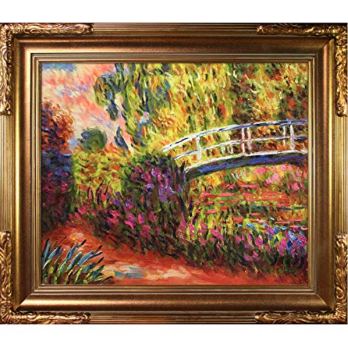 (Hand-Painted Reproduction of Claude Monet The Japanese Bridge Framed Oil Painting, 20 x 24)