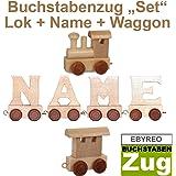 Buchstabenzug Names-Set Lok + + Endwaggon | EbyReo® Namenszug aus Holz | personalisierbar | Geschenk zur Geburt | Taufgeschenk | Geschenk zu Einschulung