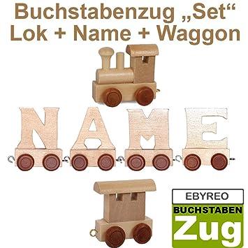 Buchstabenzug Namens-Set Lok personalisierbar Frederik Taufgeschenk Geschenk zur Geburt EbyReo/® Namenszug aus Holz Endwaggon Frederik Geschenk zu Einschulung