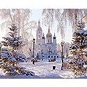 LovetheFamily 数字油絵 数字キット塗り絵 手塗り DIY絵 デジタル油絵 雪景色と城 40x50cm ホーム オフィス装飾の商品画像