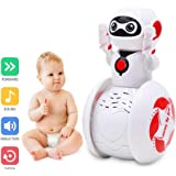 Jingjing1 Baby Toys 6 Months up, Lovely Smart Free Oscillation Rotating Robot Early EQ Education, Clap on and Voice Controlled with Sound Sensor Music and Lights (Red)