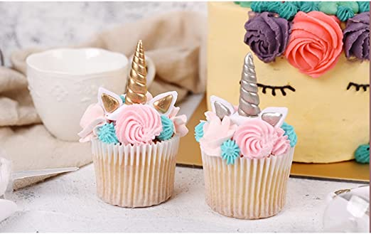 Surprising The Silver Gold Unicorn Birthday Cake Topper Decor Party Small Funny Birthday Cards Online Inifofree Goldxyz