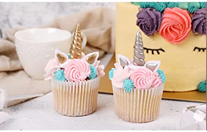 The Silver Gold Unicorn Birthday Cake Topper Decor Party Small Cute Baby Kids Horn