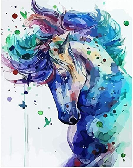 DIY Paint by Number Kit Brown Horse with White Mane #paintbynumbers Fast Shipping Watercolor Horse Colorful